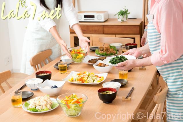 食卓テーブル 女性二人 配膳している