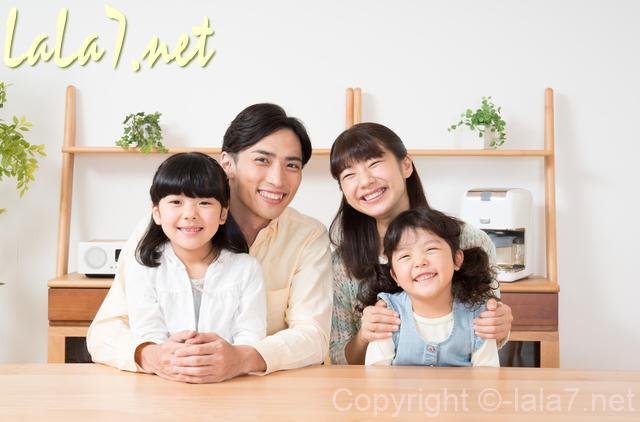 四人家族 夫婦と子供ふたり 微笑む笑顔