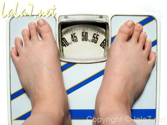 体重計にはだしの足をのせて測っている