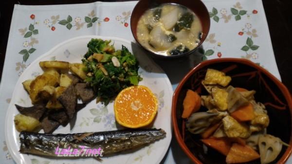 糖質制限食煮物の夕食メニュー、メインさんま煮物にラカントS使用