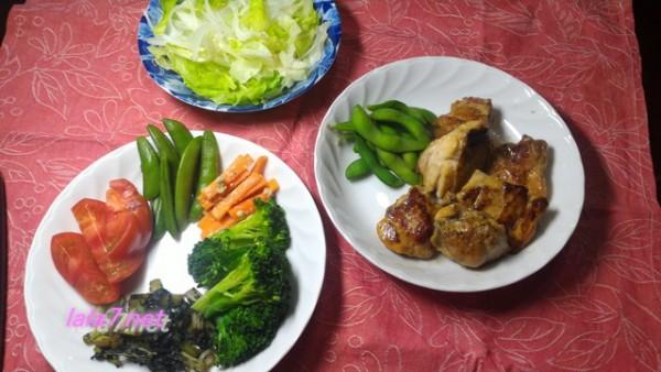 鶏唐揚げの定番味付けで焼くだけの糖質制限食事例