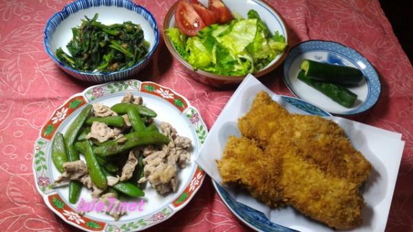 トンカツメインの糖質制限食の夕食一例