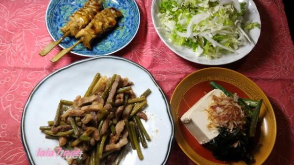 糖質制限料理にんにくの芽と豚肉で中華風メイン料理の夕食