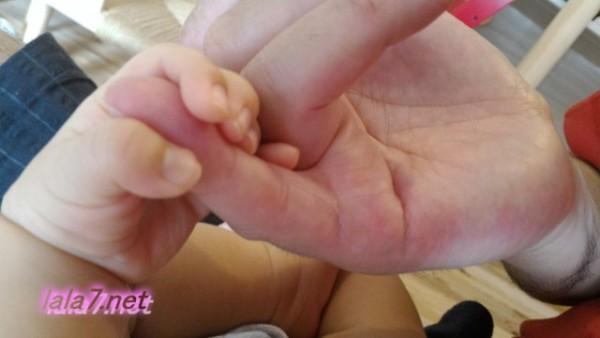 生後一か月半の孫赤ちゃんの手ジイジの指をにぎる