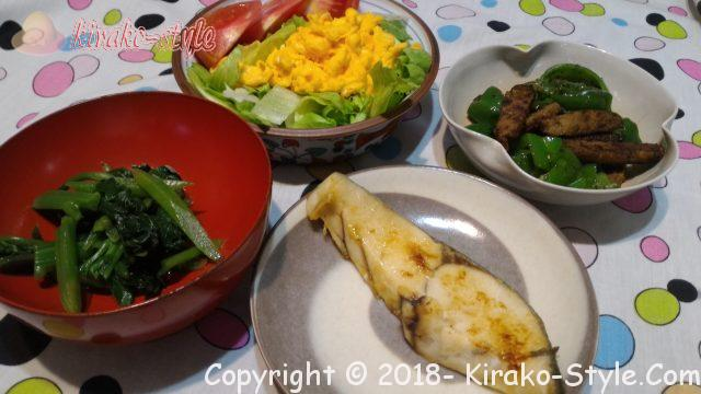 糖質制限食の夕食、20180712
