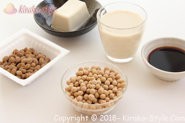 顔のシワとたるみが改善する食品・顔筋肉・かかと落とし、大豆がエクオールを作る
