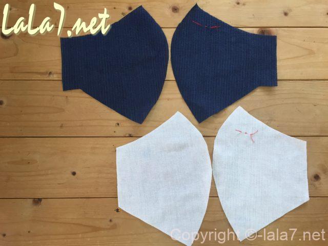 男性用立体マスクの作り方、表布、裏布それぞれ2枚