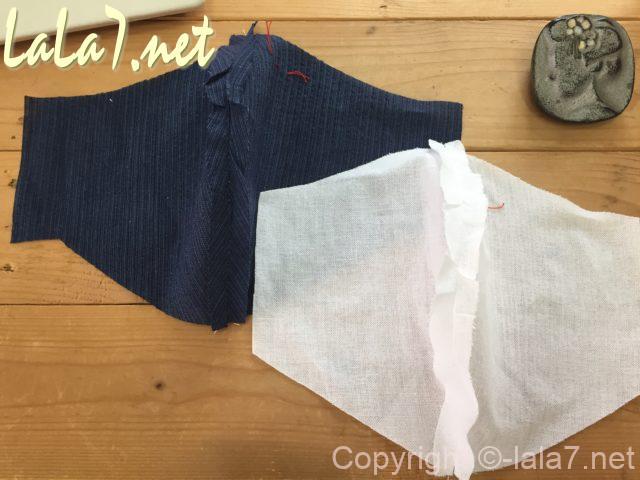 男性用立体マスクの作り方、中表にして中心を縫う