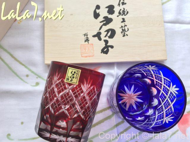 江戸切子のペアグラス 木箱と伝統工芸の表示