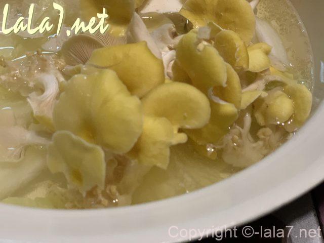黄金タモギ(タモギタケ)お湯に入れると色がかわっていくところ